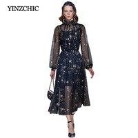 fashion woman spring dress quality runway midi dress stars moons embroidered a line party dress female elegant dress