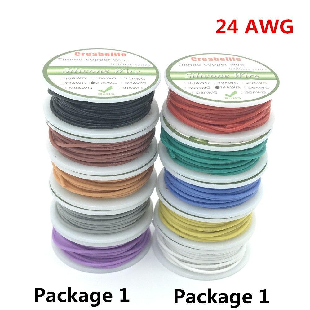 30 m 24 AWG Flexible Silicone Fil RC Câble Ligne Avec 5 couleurs à Choisir Avec Le Paquet de Bobine 1 ou Paquet 2 reebos