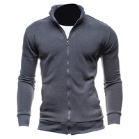 New Plain Basic Hoodies Autumn Spring Mens Sweatshirt Zip Up Jacket Casual Long Sleeve Slim Fit