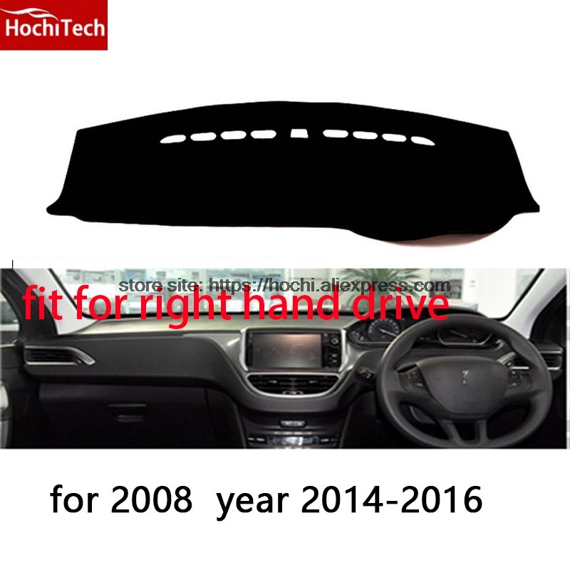 For Peugeot 2008 3008 right hand drive dashboard mat Protective pad black car-styling Interior Refit Sticker Mat products for toyota prius 2012 2013 right hand drive dashboard mat protective pad black car styling interior refit sticker mat products