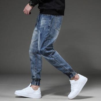 Odinokov Fashion Men Jeans Slim Fit Dark Blue Color Destroyed Ripped Jeans Homme Balplein Brand Jeans Men Motor Biker Jeans 1