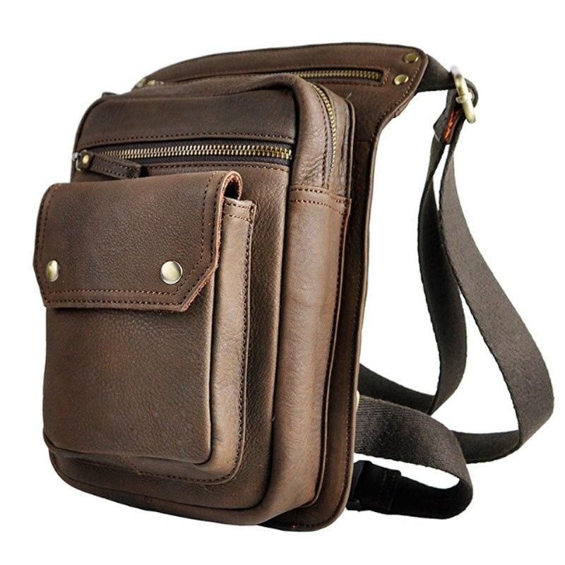 Men High Quality Waist Drop Leg  Bags Genuine Leather Vintage Trend Waist Bag Famous Brand Cross Body Shoulder Pack