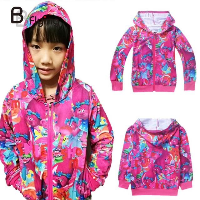 Girls Children Fashion Pretty Dream Works Zipper Elf Printed Hooded Sweater Jacket Hoodies 3-8Years Old