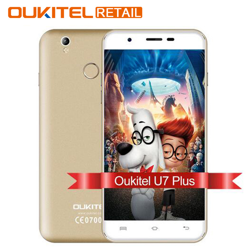 Original OUKITEL U7 Plus 5.5 Inch Mobile phone Android 6.0 MTK6737 Quad Core1.3GHz 2G RAM 16G ROM 13MP Fingerprint