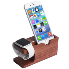 2 in 1 Data Charger Cable+100% Bamboo Wooden Charging Dock Stand Phone Holder For All APPLE iPhone 6 6S PLUS 5 5s i Watches