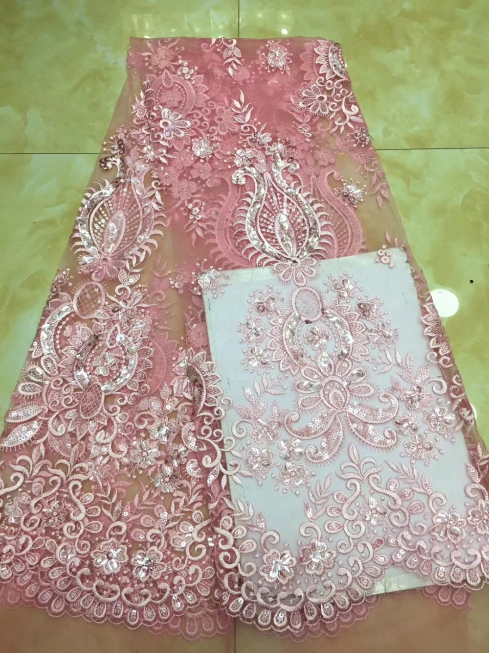2018 New French Beaded Lace Fabric For Wedding Dress