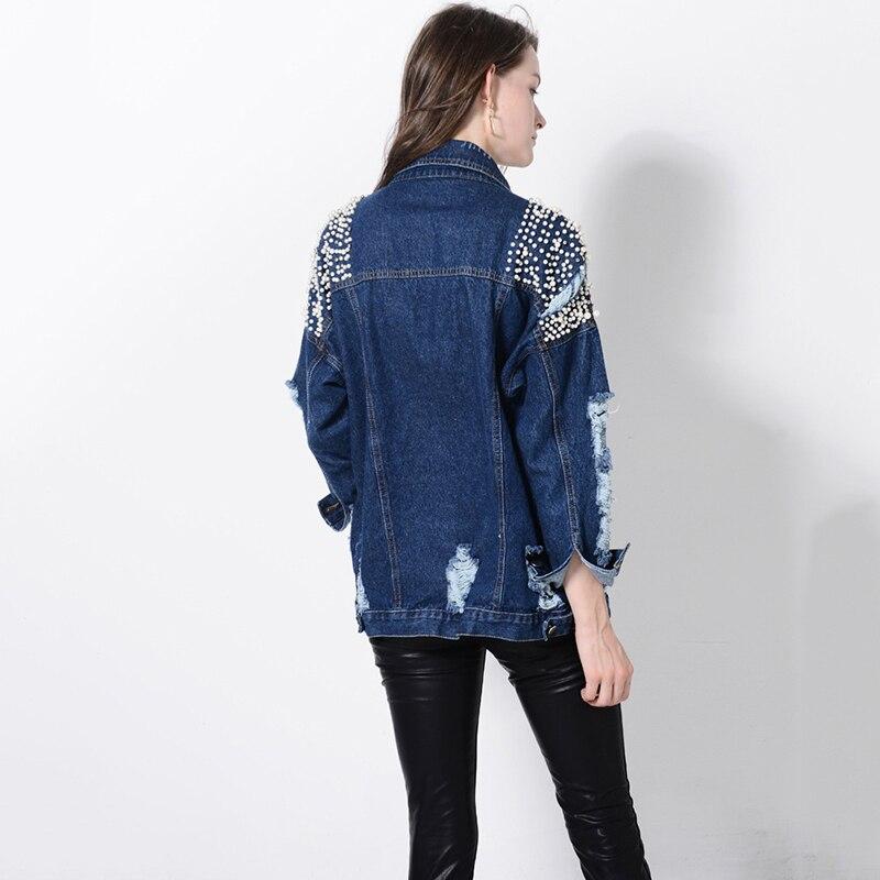 Denim Picture Copains Base Jeans Nouveau Lourd Déchiré Chaquetas Mujer Manteaux As Perles Printemps Femmes De Veste Style Lavé 2018 Trou CXHwtqx