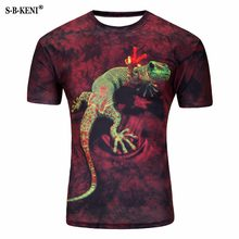 3D Men T Shirts Animal Short Sleeves Cotton O-Neck Groot Tiedye Personalized Tshirt Water Printed Teet shirt Men Clothes t shirt(China)