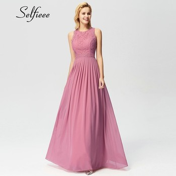 New Woman Dress Elegant Evening Robe Longue A Line O Neck Beaded Lace Party Dresses Floor Length Long Chiffon Formal Dress 2020 1