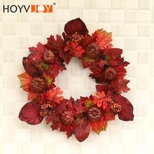 HOYVJOY Autumn Rattan Circle Maple Leaf Handmade Garland 50cm for Thanksgiving/Halloween/Christmas Artificial Flower Decoration