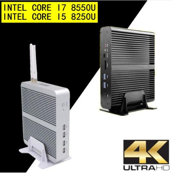 Безвентиляторный Nuc Мини ПК i7 8550U i5 8250U четырехъядерный DDR4 RAM мини настольный Windows 10 Pro UHD 620 4K HTPC Wifi HDMI