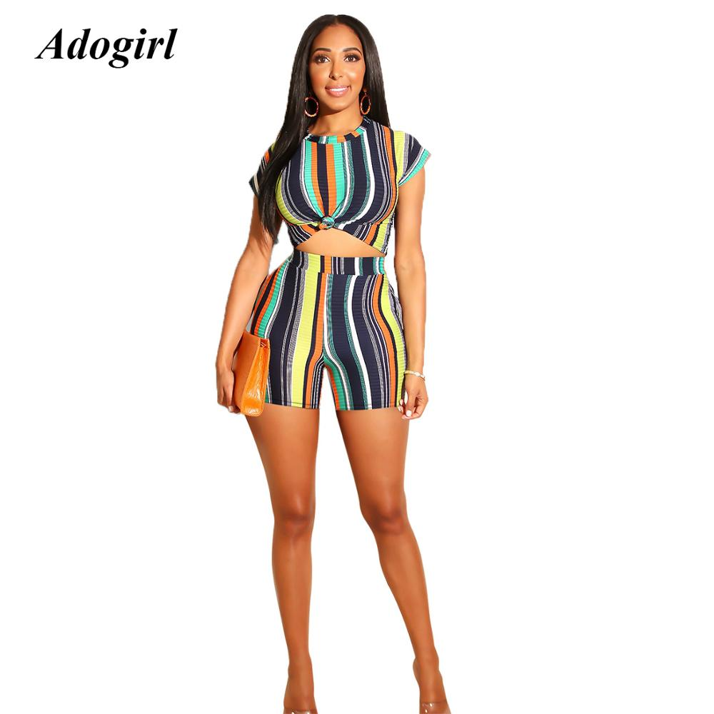 Adogirl Elegant Tie Dye Striped Print Two Piece Set Casual O Neck Crop Top With Shorts Women Suit Sexy Bodycon Night Club Outfit