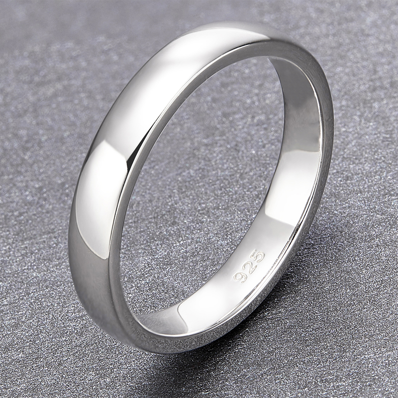 TIGRADE 4mm Never Fade 925 Sterling Silver Rings Wedding For Men Women Simple Engagement Bague Female Jewelry in Rings from Jewelry Accessories
