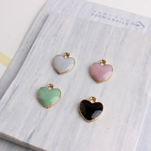 10pcs 12*13MM Fashion diy enamel heart charms for bracelet, handmade metal alloy heart pendants dangle jewelry making(China)