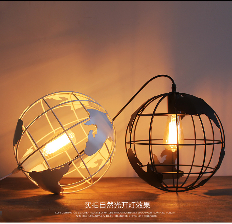 Globe Cage Ceiling Light Diameter 28cm Black & White Color Earth shape industrial vintage style restaurant light