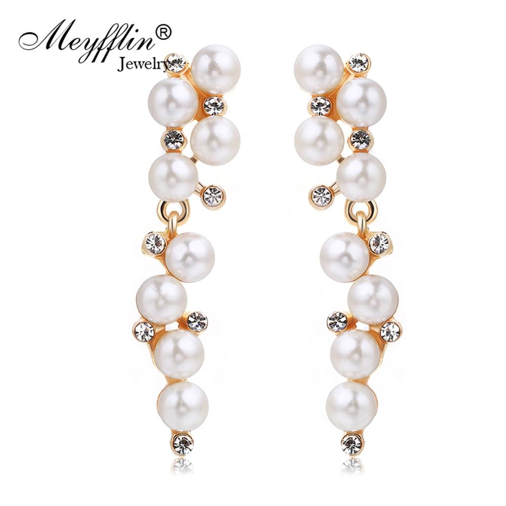 Cercei cu perle pentru imitație de moda pentru femei Brinco Bijuterii Declarație de cercei de cristal cu cerc Boucle d'oreille