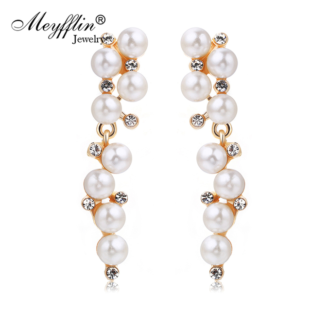 Pendientes Fashion Imitated Pearl Earrings for Women Brinco Jewelry Statement Crystal Stud Earrings Gold Boucle d'oreille