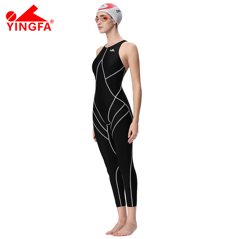 9bb3b5407222e Yingfa FINA Approval Professional swimming Training costumes women knee  Swimsuit Sports one piece Competition sharkskin-in Body Suits from Sports  ...