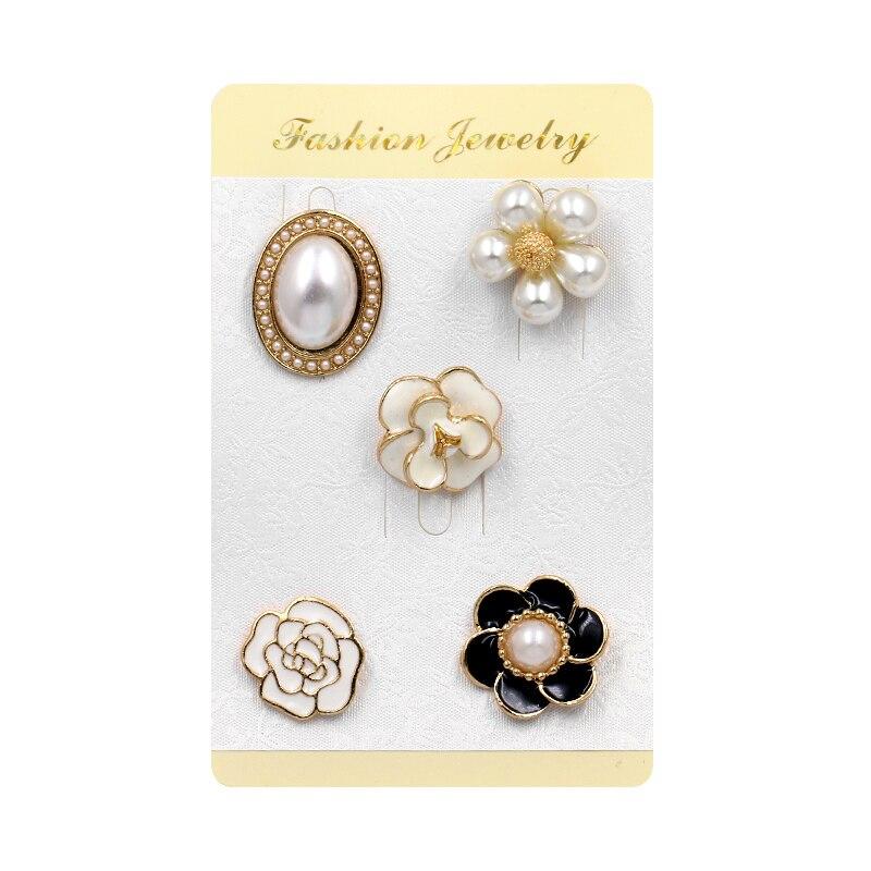 Baiduqiandu 5pcs/set Women Brooch Flower Imitation Pearls Enamel Diy Bouquet Wedding Bridal Brooch Pin Handbag Hat Accessories Jewelry & Accessories
