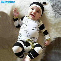 3pcs Set Baby Newborn Infant Boys Girls Origami Printed Clothes Suits Kids Long Sleeve T Shirt