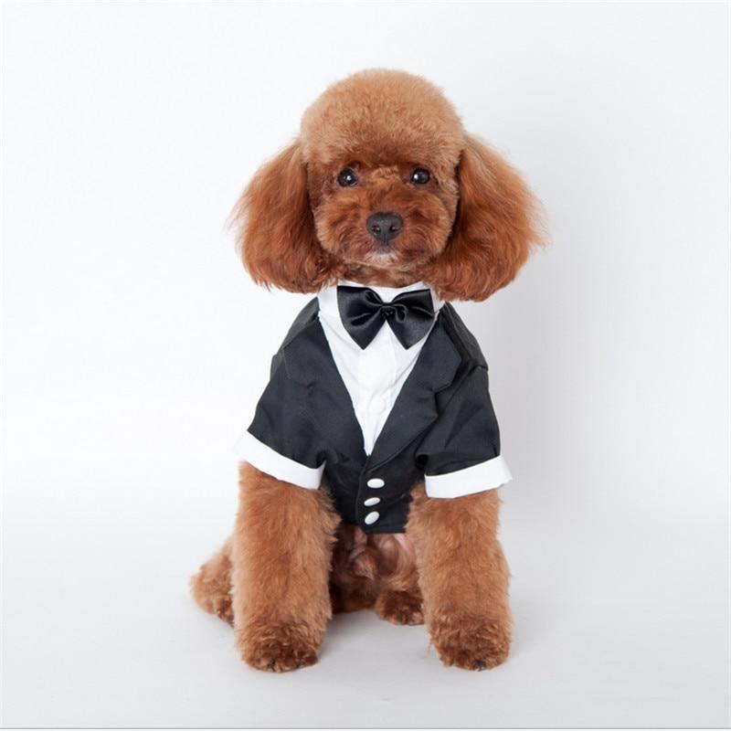 Cool Pet Dog Puppy Cat Tuxedo with Bow Tie Wedding Suit Costumes Coat S-XXL