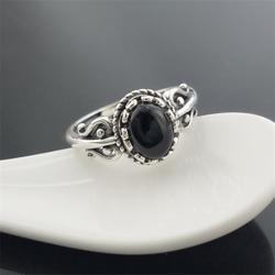 Черный натуральный агат драгоценного камня 925 пробы серебро Винтаж кольцо Для женщин античные тайские серебряные S925 натуральное чистое