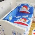 Promoção! 5 PCS Menino conjunto de cama Jogo de Cama de Algodão Do Bebê Berço Da Cama Conjunto Para Meninos Recém-nascidos, inclui :( amortecedores + ficha)