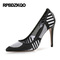 Thin Mesh Extreme Ultra Ladies Pumps Size 33 Big 12 44 Super 10 42 Green High Heels Shoes White Pointed Toe Special Novelty