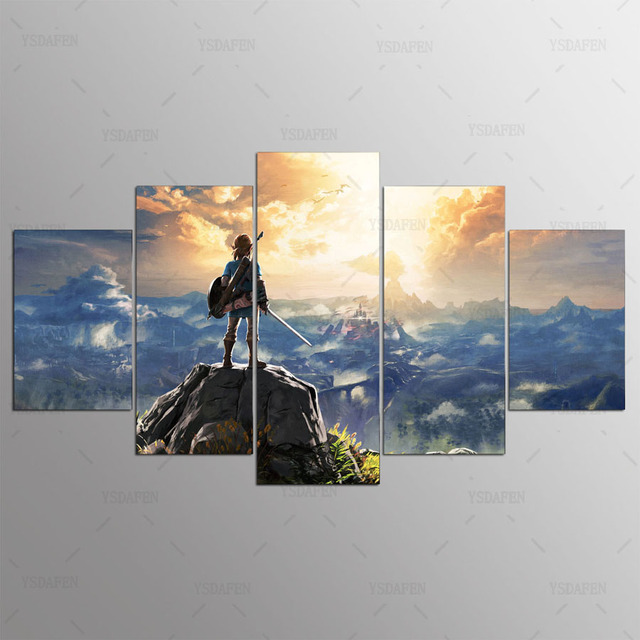 Canvas Painting Wall Pictures 5 Panel Game Wall Art Legend Of Zelda Poster For Living Room Home Decor Modular Pictures Frames