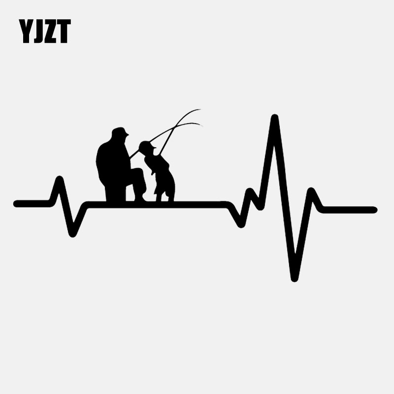 YJZT 17CM*8CM Vinyl Decal Heart Beat Line Fishing Father Dad Son Fish Rod Reel Lure Car Sticker Black/Silver C24-0542