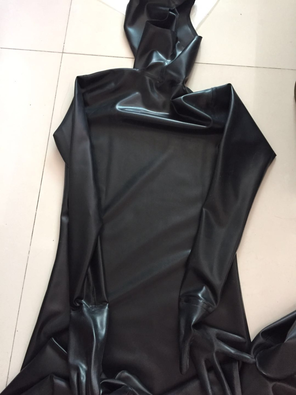 Latex Tights Bodysuit Catsuit Zentai  Customization Handmade Without Zip Face Entrance Flexible Latex Fabric W Gloves Hats