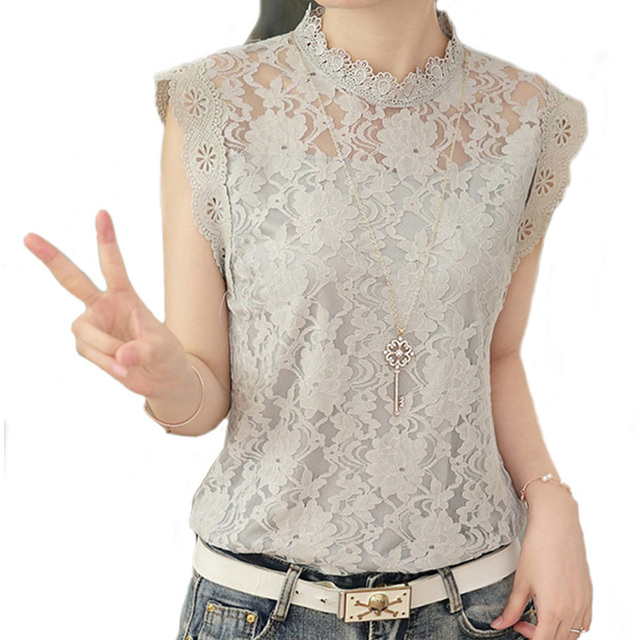 005b275752c Summer Ladies Tops Sexy Plus Size White Gray Lace Blouse Top Crochet  Sleeveless Stand Neck Casual