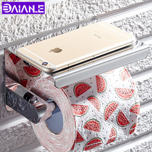 Stainless Steel Toilet Paper Holder with Shelf Wall Mounted Paper Towel Holder Rack Mobile Phone Bathroom Roll Paper Holder wholesale and retail golden jade toilet roll paper rack with phone shelf wall mounted bathroom paper holder free shipping