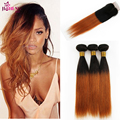 Rosa Hair Products With Closure Ombre Peruvian Virgin Hair Straight With Closure Cheap Remy Human Hair Weave with Lace Closure