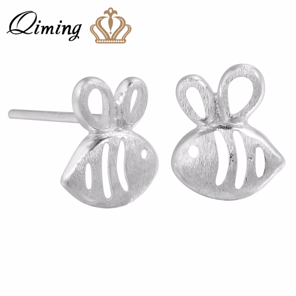QIMING 925 Sterling-Silver-Jewelry Small Earrings For Women Fashion Cute Lovely Animal Bee Stud Earrings Girls Baby Jewelry