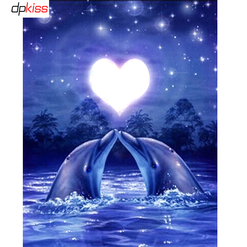 DIY 5D Diamond Mosaic Love dolphin Full Daimond Painting Cross Stitch Kits Square Diamonds Embroidery Home