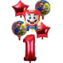 6 ピース/セット 32 インチ番号赤マリオと 18 インチハート星のアルミバルーン子供の誕生日パーティーの装飾用品ヘリウム気球
