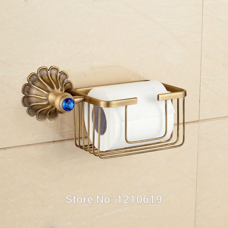 Newly Antique Brass Commodity Basket Shelf Paper Holder Blue Crystal Bathroom Cosmetic Storage Rack antique brass luxury bathroom accessory paper holder toilet brush rack commodity basket shelf soap dish towel ring
