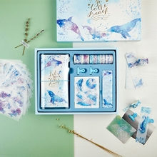 """""""Seaworld Scrapbooking Gift Pack"""" Cute Diary Planner Notebook Stickers Washi Tapes Clips Stationiery Gift"""