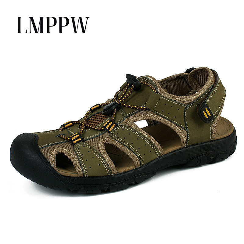 New 2019 Gladiator Sandals Men Casual Summer Rome Sandals Genuine Leather Men Shoes Fashion Outdoor Beach Sandals Non slip Green in Men 39 s Sandals from Shoes