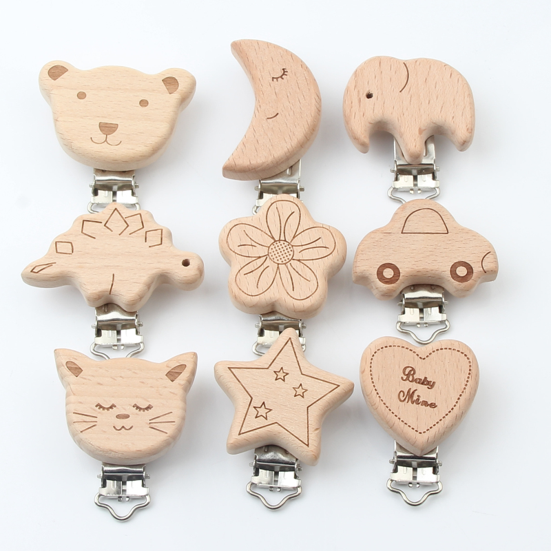 Beech Wooden Baby Pacifier Clips Wood Metal Holders Cute Infant Soother Clasps Accessories For Baby Chewing Teethers