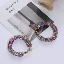 2019 New Fashion Design Women 1Pair Charm Austrian crystal hoop earrings Geometric Round Shiny rhinestone big earring jewelry(China)