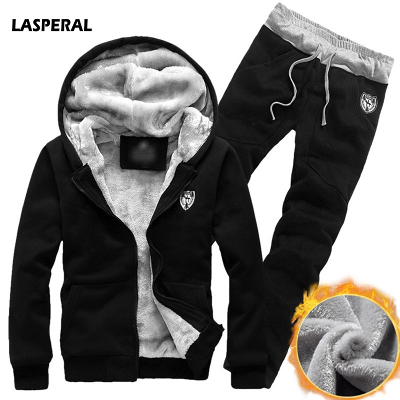 LASPERAL Winter Thick Men Sports Suits Tracksuit Hoodie Sportswear Zipper Fleece Hooded Jackets+Elastic Waist Pants Running Sets