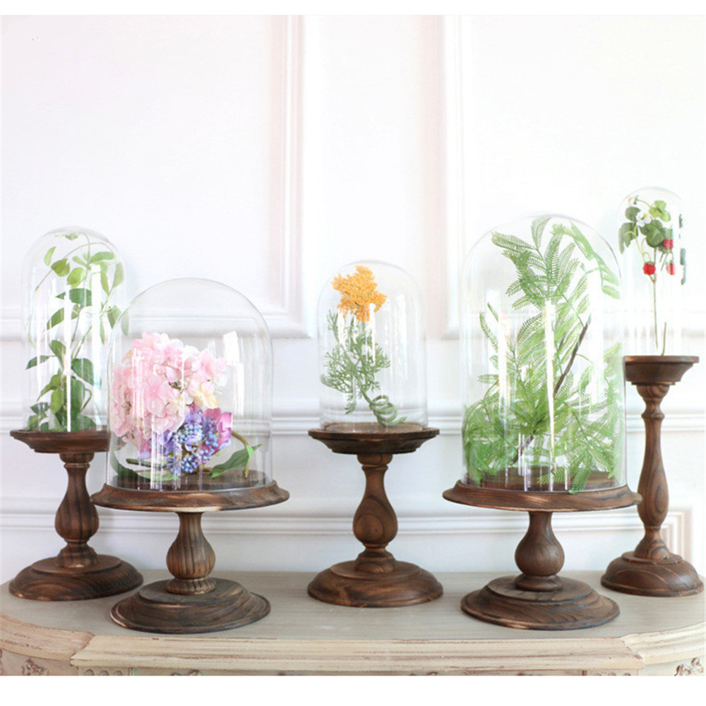 Tall Wood Base Glass Cloche Dome Cover Display Choche Terrarium Container Decorative Display Bell Tray Jar Centerpiece TabletopTall Wood Base Glass Cloche Dome Cover Display Choche Terrarium Container Decorative Display Bell Tray Jar Centerpiece Tabletop