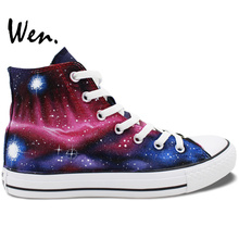 Wen Original Design Hand Painted Shoes Custom Galaxy Space Nebula High Top Canvas Sneakers for Christmas Gifts