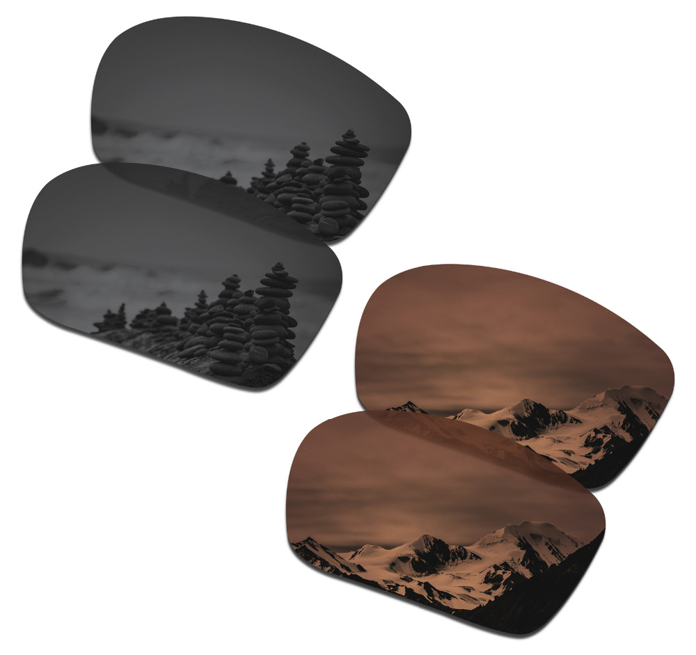 SmartVLT 2 Pairs Polarized Sunglasses Replacement Lenses for Oakley Triggerman Stealth Black and Amber Brown
