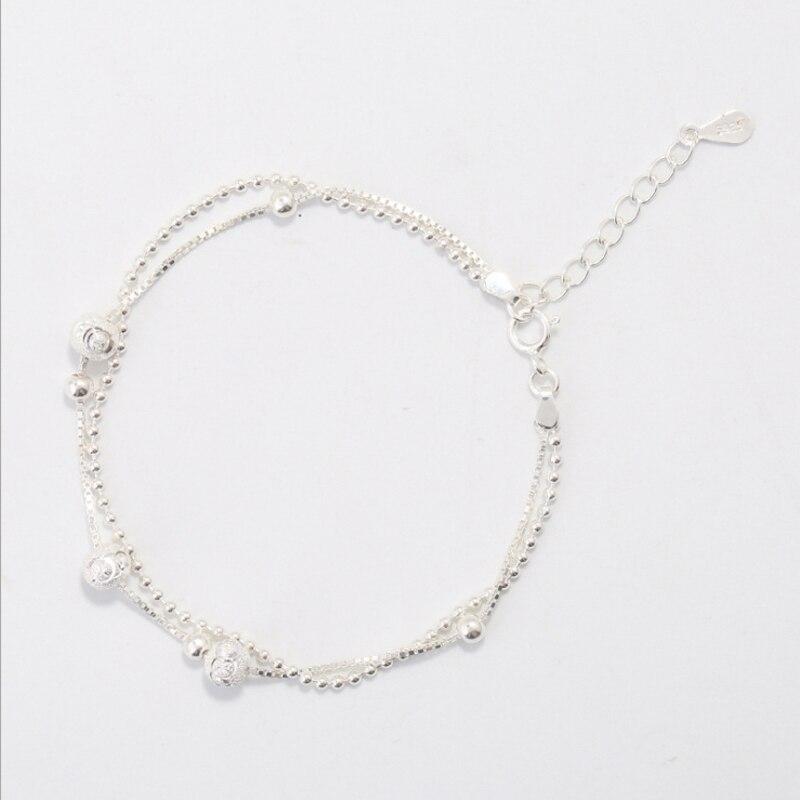 CAB9 pour kim client envoyer avec sac 925 argent femmes bracelet avec boule taille environ 16.5 cm pour les femmes d'anniversaire cadeau