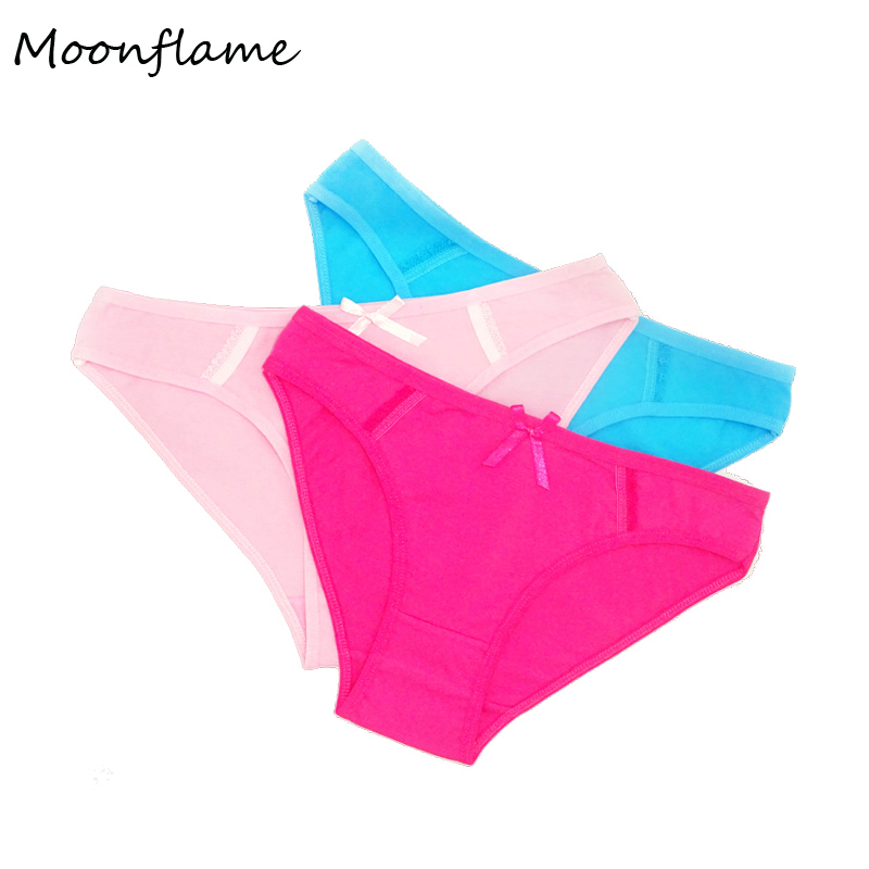Moonflme 3 pcs/lots Hot Sale 2019 Solid Color Comfortable Cotton Woman   Panties   Underwear 89037