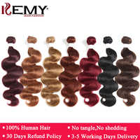 Black Brown Red Color Body Wave Human Hair Weaves Bundle 8 to 26 Inch Brazilian Non-Remy Hair Extensions 1/3/4PCS Hair Bundles