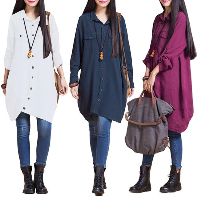 Long Sleeve Blouse Shirts Women tunics Plus Size 3XL 4XL 5XL OL Long Tops Irregular Hem Buttons Loose Casual Vintage Tops female 3